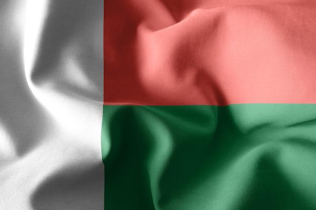 3d-rendering realistische wapperende zijden vlag van madagaskar