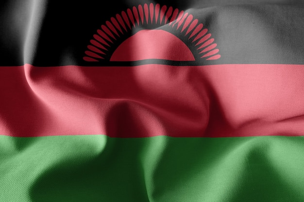 3d-rendering realistische wapperende zijden vlag van malawi