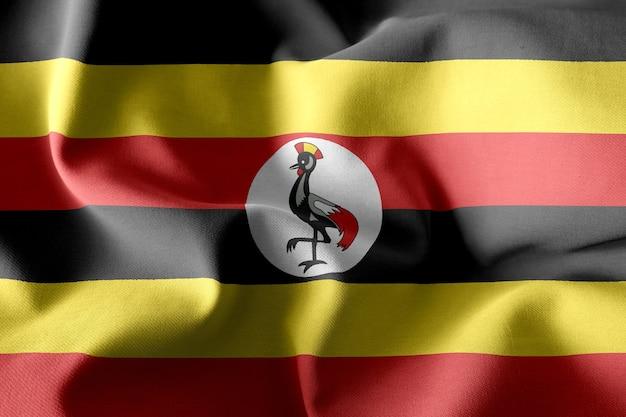 3d-rendering realistische wapperende zijden vlag van oeganda