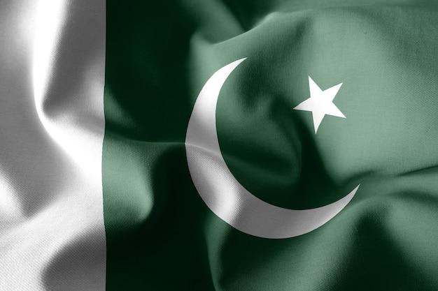 3d-rendering realistische wapperende zijden vlag van pakistan