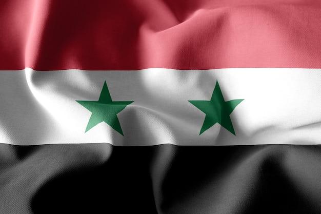 3d-rendering realistische wapperende zijden vlag van syrië