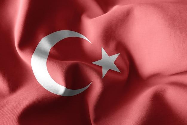 3d-rendering realistische wapperende zijden vlag van turkije