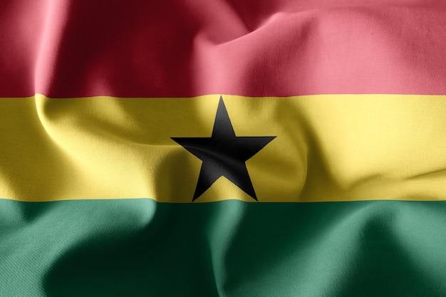 3d-rendering realistische wuivende zijden vlag van ghana