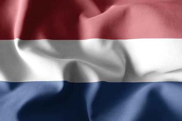 3d-rendering realistische wuivende zijden vlag van nederland