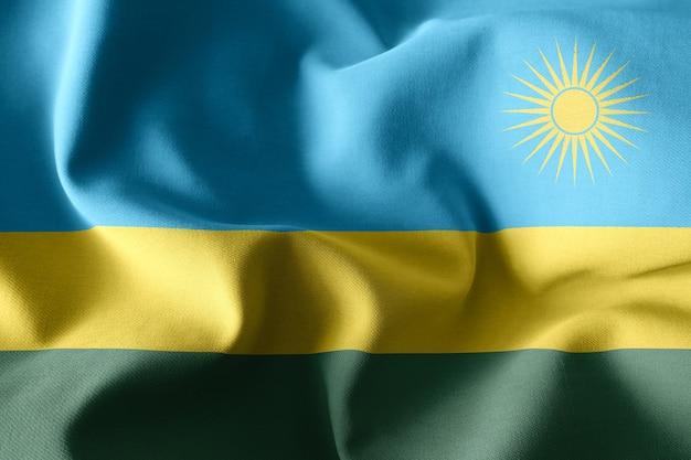 3d-rendering realistische wuivende zijden vlag van rwanda