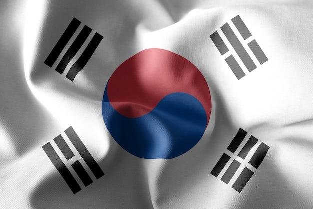 3d-rendering realistische wuivende zijden vlag van zuid-korea