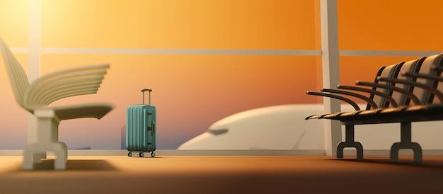 3d-rendering reiziger koffers in terminal luchthaven vertrekhal en vliegtuig