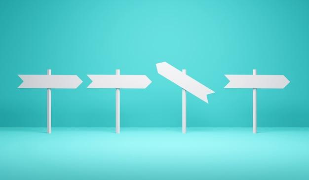 3d rendering richting borden een van hen wijst op een andere richting op blauwe achtergrond