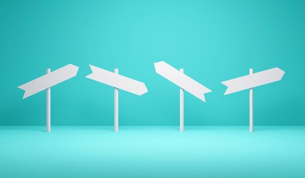 3d rendering richting borden wijzen op verschillende richtingen op blauwe achtergrond