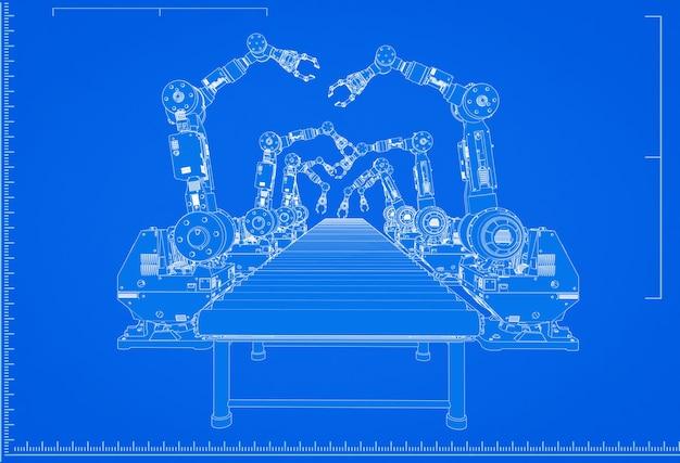 3d-rendering robot assemblagelijn blauwdruk met schaal op blauwe achtergrond