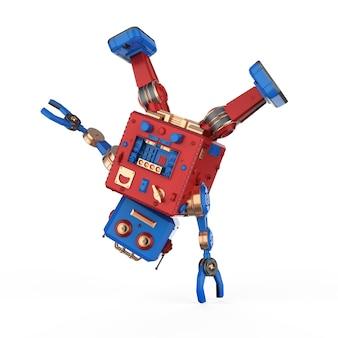 3d-rendering robot blikken speelgoed breakdance op witte achtergrond