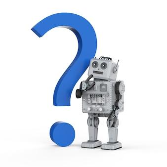 3d-rendering robot blikken speelgoed met blauw vraagteken