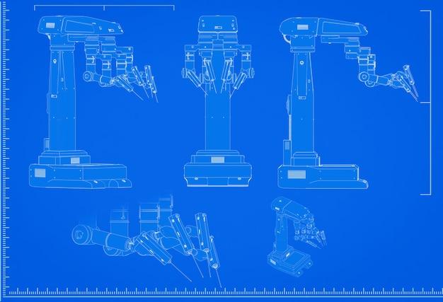 3d-rendering robot chirurgie blauwdruk met schaal op blauwe achtergrond