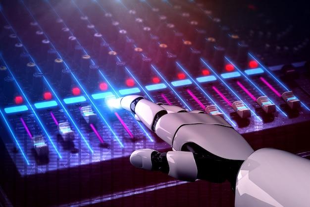 3d-rendering robot disc jockey hand op dj mixer close-up in nachtclub tijdens feest