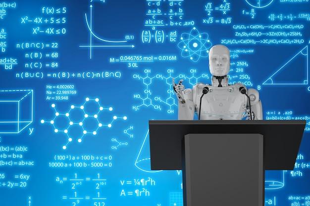 3d-rendering robot docent lesgeven op podium met display monitor