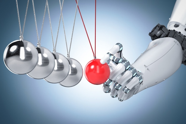 3d-rendering robot hand met newton cradle