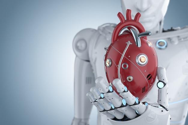 3d-rendering robot hand met rood robot hart op blauwe achtergrond