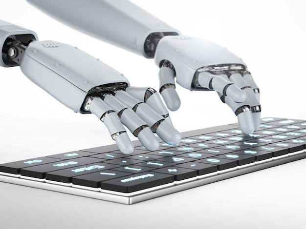 3d-rendering robot hand werken met computertoetsenbord