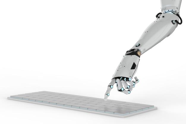 3d-rendering robot hand werken met toetsenbord