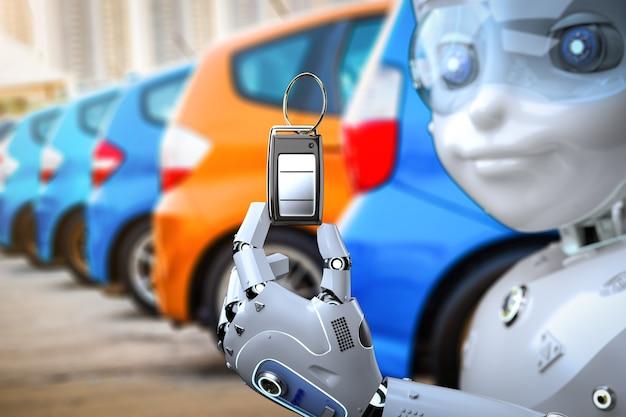 3d-rendering: robot houdt autosleutel of auto-afstandsbediening aan