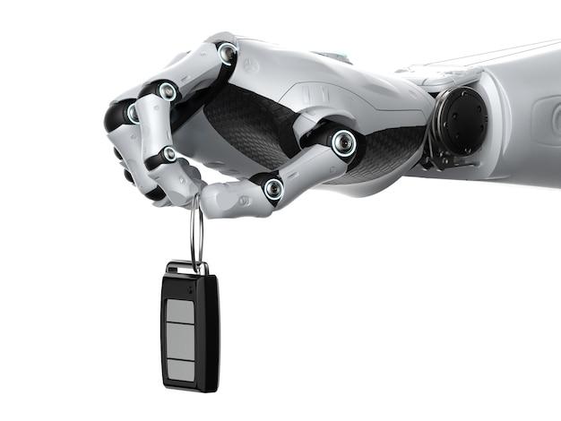 3d-rendering robot houdt autosleutel of auto afstandsbediening op witte achtergrond