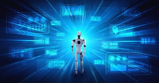 3d-rendering robot humanoïde die big data analyseert met behulp van ai-denken