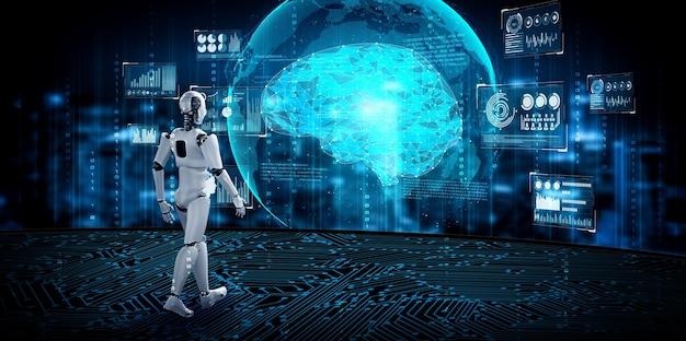 3d-rendering robot humanoïde in sci fi fantasiewereld