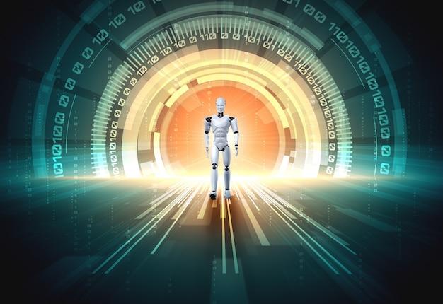 3d-rendering robot humanoïde in sci-fi fantasiewereld