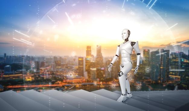 3d-rendering robot humanoïde trap naar succes oplopen