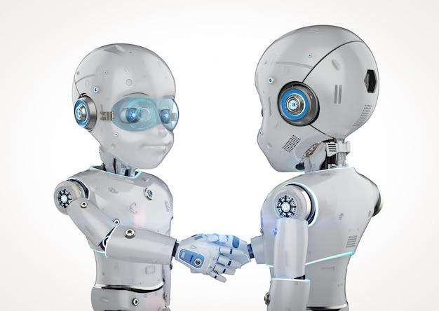 3d-rendering robot jongen hand schudden geïsoleerd op wit