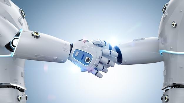 3d-rendering robot jongen hand schudden voor partnerschap