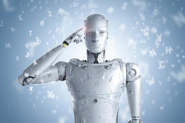 3d-rendering robot leren of machine learning met alfabetten