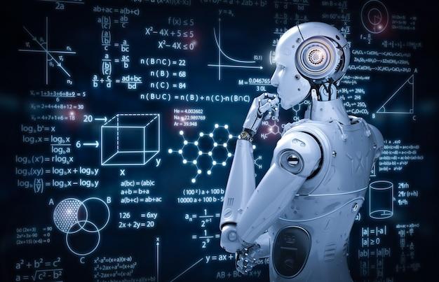 3d-rendering robot leren of machine learning met onderwijs hud interface