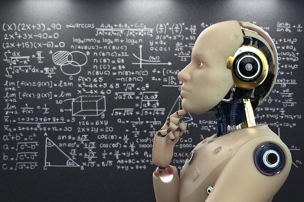 3d-rendering robot leren of machine learning met schoolbord