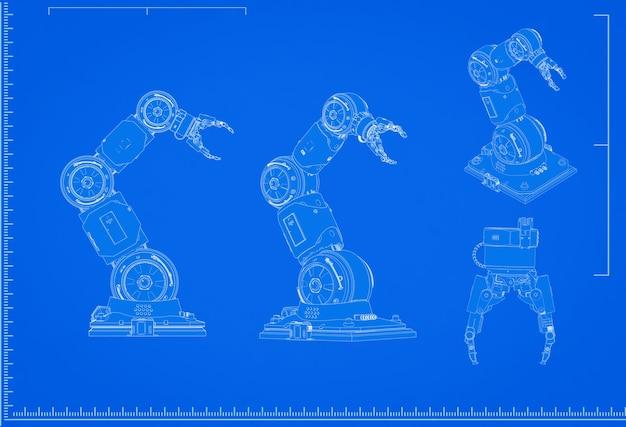3d-rendering robotarm blauwdruk met schaal op blauwe achtergrond