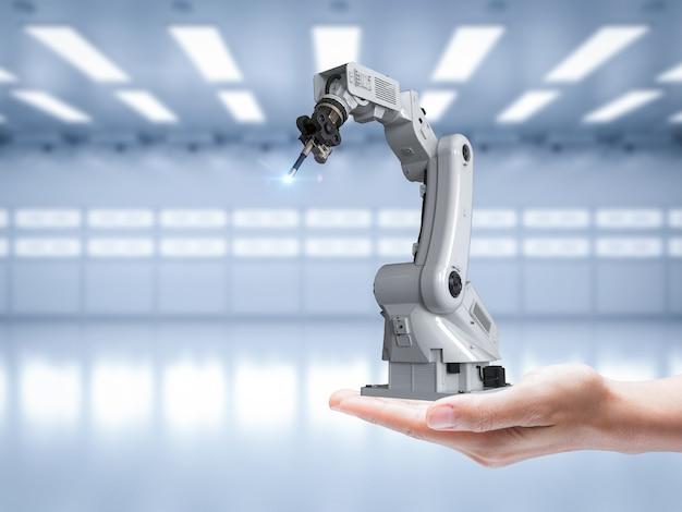3d-rendering robotarm op menselijke hand