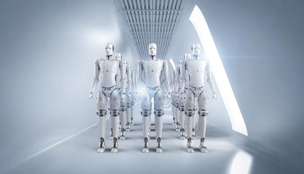 3d-rendering robotassemblage of groep cyborgs in witte fabriek