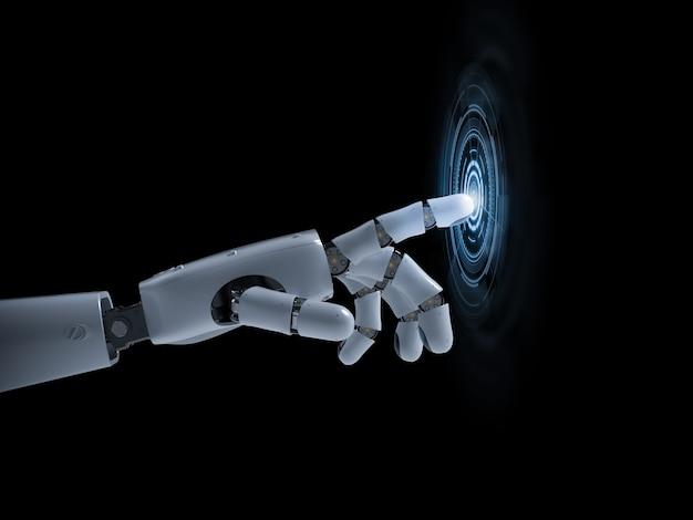3d-rendering robothand of cyborg-hand met grafisch display