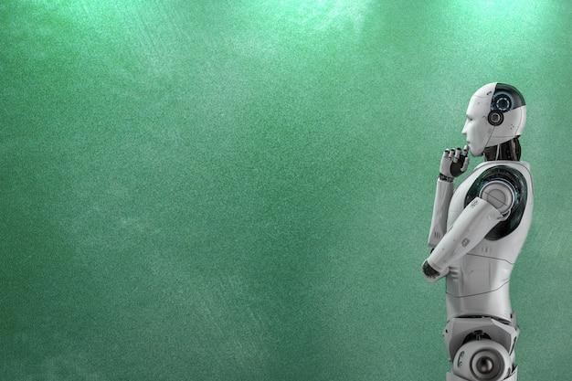 3d-rendering robotstandaard met leeg schoolbord