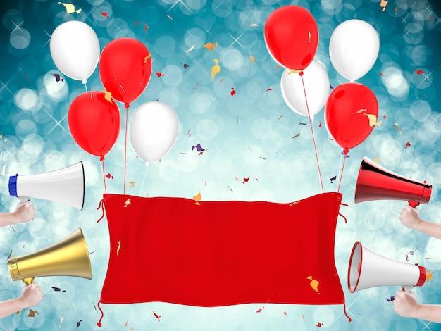 3d-rendering rode doek banner, megafoons, rode ballonnen en confetti