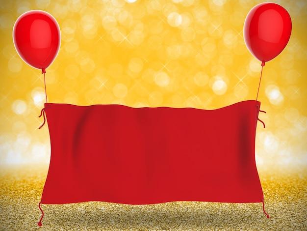 3d rendering rode doek banner opknoping met rode ballonnen