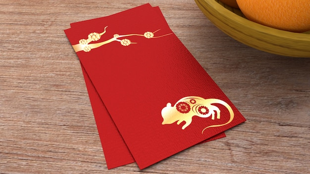 3d-rendering rode envelop beloning chinees nieuwjaar