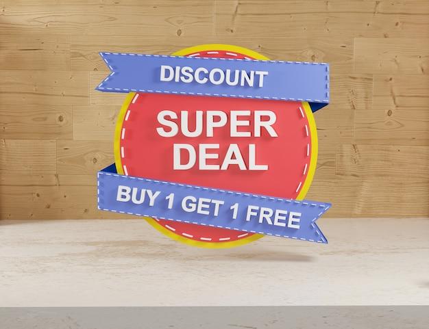 3d-rendering rode sticker verkoop op houten achtergrond super verkoop en prijs badges etiketten kortingen