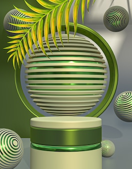 3d-rendering ronde cirkel productpresentatie podiumvertoning voor lenteseizoen