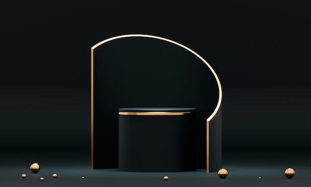 3d-rendering ronde podiumgeometrie met zwarte en gouden elementen