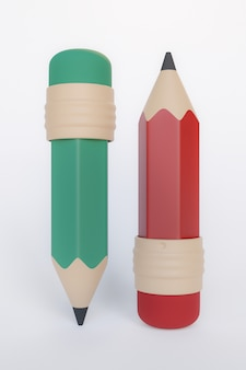 3d-rendering, rood en groen potlood cartoon