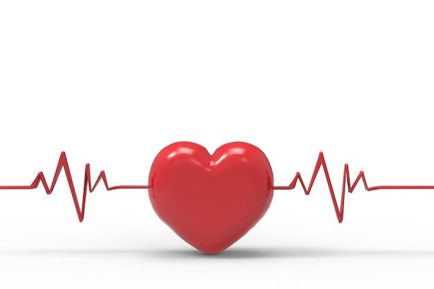 3d-rendering rood hart vorm met pulse lijn op witte achtergrond
