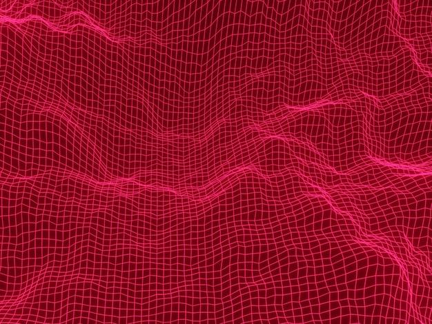 3d-rendering rood licht topografisch draadframe