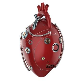 3d-rendering rood robotachtig hart op wit wordt geïsoleerd