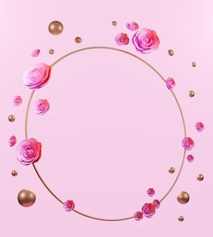 3d-rendering rose en ring gouden achtergrond, abstracte achtergrond voor show cosmetica of producten.